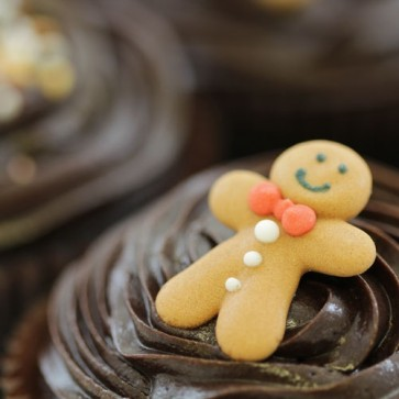 Christmas Chocolate cupcakes - close up